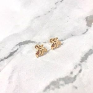 NEW Honey bee bumble bee gold color earrings